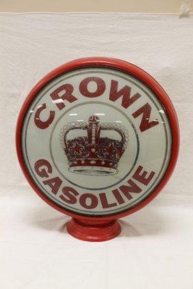 "Crown Gasoline 3-piece Metal Gas Globe With 16 1/2"""