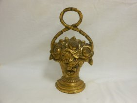 Cast Iron Painted Flower Basket Doorstop In Gold Paint,