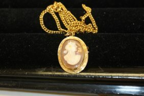 10k Yellow Gold Cameo Pin/pendant With Gold Filled