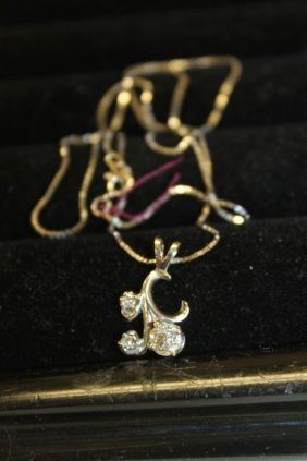 14k White Gold Necklace And Diamond Pendant