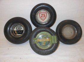 """(4) Tire Ash Trays: 5 3/4"""" Goodyear Tires Service,"""