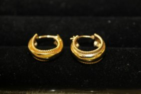 Pair Of 14k Yellow Gold Rope Edge Earrings, One With