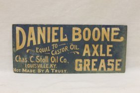 "Daniel Boone Axle Grease Cardboard Signe ""equal To"