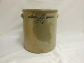 "11 1/4"" 4 Gallon Salt Glaze Jar With Cobalt Decoration"