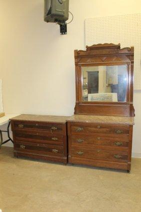 Walnut Eastlake Brown Marble Top Dresser