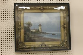 Framed Oil On Canvas Of An Unsigned Light House Scene