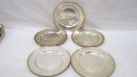 "(5) Sterling Silver 6"" Bread Plates, Monogram"