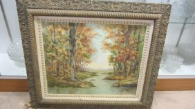 Framed Oil On Canvas Painting Of An Autumn Landscape