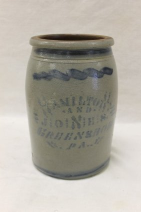"Hamilton & Jones Greensboro Pa 9 3/4"" Stone Jar"