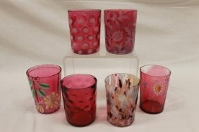 Group Of Tumblers: Cranberry Opalescent Coin Dot;