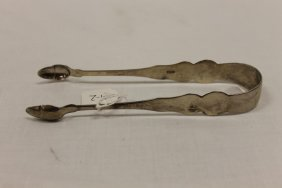 """6 1/2"""" Coin Silver Sugar Tongs With Acorn Ends, Double"""