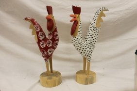 Lonnie And Twyla Money Signed Ky Folk Art Roosters,