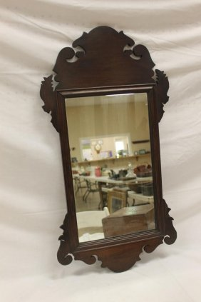 Walnut Chippendale Style Carved Mirror. Repaired Break