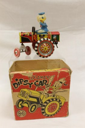 Marx Disney Dipsy Car With Box, Tin Wind-up With Spring