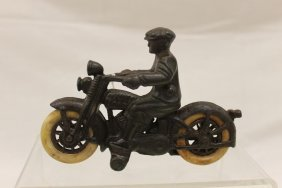 Harley Davidson Cast Iron Motorcycle And Rider With