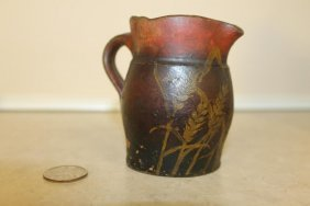 Small Redware Decorateed Creamer With Painted Wheat,