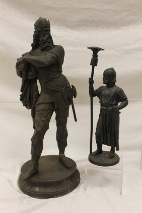 Bronze Warrior Figures: Tallest With Flowing Hair And
