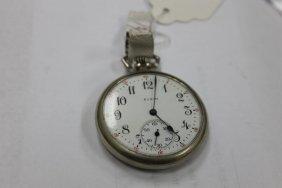 Elgin 12 Size Pocket Watch In Keystone Silveroid Case