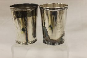 "(2) Sterling Silver Julep Cups Engraved ""winchester"