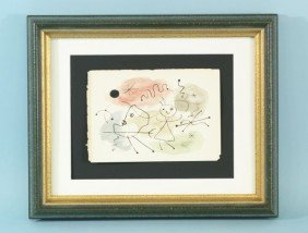 "JOAN MIRO ""UNTITLED ABSTRACT"" WATERCOLOR, INK"