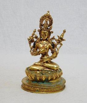 Sino-tibetan Gilt Bronze Seated Buddha Figure