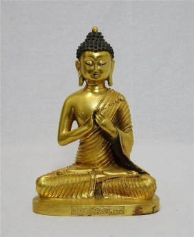 Chinese Gilt Bronze Buddha Figure With Mark