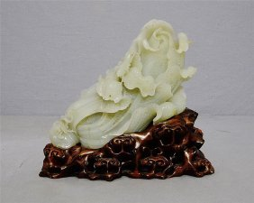 Very Well Hand Carved Chinese He-tian Jade Cabbage