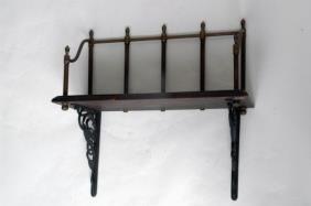 Cast Iron And Wood Wall Shelf