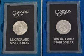 Two American Carson City Silver $1