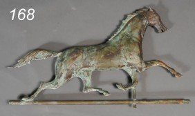 MOLDED COPPER HORSE WEATHERVANE With Cast Iron Hea