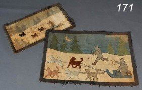 "PAIR OF ""AS-IS"" GREENFELL RUGS Both With Sled Dogs"