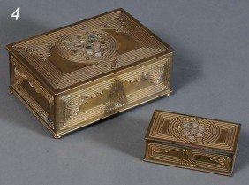 TIFFANY STUDIOS BRONZE DESK SET BOXES (a Pair) Abalo