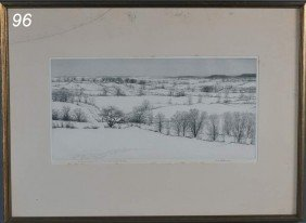 "KERR EBY Untitled Winter Landscape 7 1/2"" X 15 1/4"""