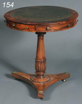 "REGENCY ROSEWOOD DRUM TABLE With Leather Top 27"" H"