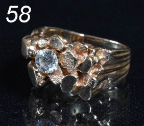 DIAMOND RING 14k Gold With Approx. .65 Ct Center Di