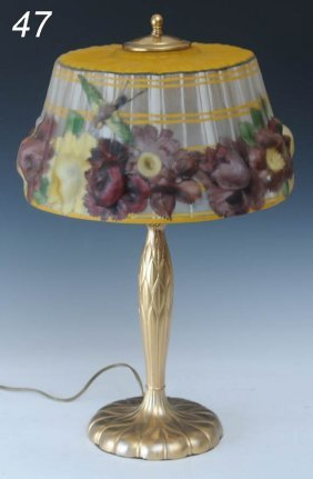"PAIRPOINT REVERSE PAINTED ""PUFFY"" TABLE LAMP With H"