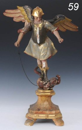 "CARVED AND POLYCHROME FIGURE St. Michael 23"" High E"
