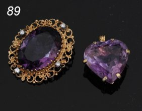 PAIR 14K AMETHYST PENDANTS   Shipping Information: