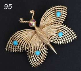 14K BUTTERFLY BROOCH With Turquoise 6.2 Dwt, 1 7/8""