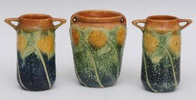 Group Of Three Roseville Vases
