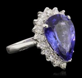14KT White Gold 6.51 Ctw Tanzanite And Diamond Ring