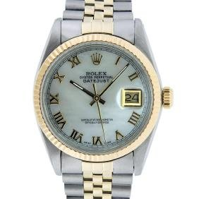 Rolex Two-tone Mop And Fluted Bezel Datejust Men's
