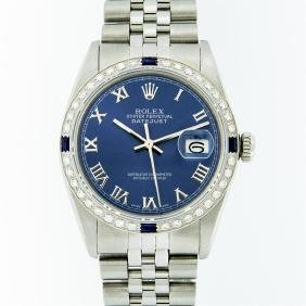 Rolex Stainless Steel Roman And Sapphire Diamond