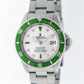 Rolex Stainless Steel Emerald And Diamond Submariner