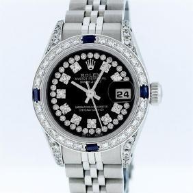 Rolex Stainless Steel Black String Diamond Vvs Datejust