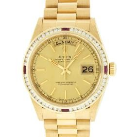 Rolex 18kt Gold President 1.30 Ctw Diamond And Ruby