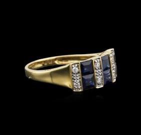 14kt Yellow Gold 1.67 Ctw Blue Sapphire And Diamond