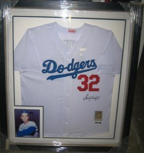 Sandy Koufax Framed Signed Dodgers Jersey