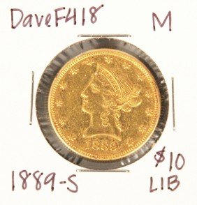 1889-S $10 M Liberty Head Eagle Gold Coin DaveF418