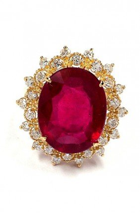 14KT Yellow Gold 9.47ct Ruby And Diamond Ring A3628